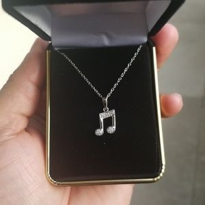 Sterling Silver 925 Rhodium Music Note Necklace